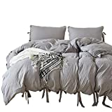 CoutureBridal Washed Cotton Duvet Cover Queen 90x90 Light Grey Solid Chic Natural Wrinkled Look Modern Bedding Set