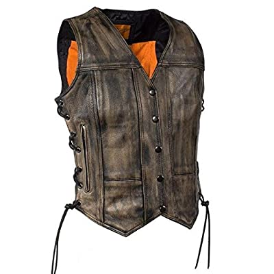 WOMEN'S MOTORCYCLE RIDERS DISTRESSED 8 POCKET LEATHER VEST WITH SIDE LACES(Regular S)