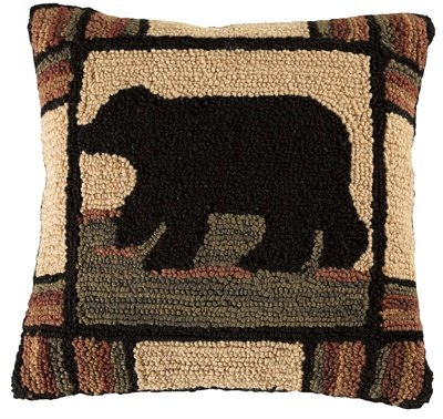 Decorative Handcrafted Polyester Filler - Adirondack Bear Hooked Pillow, Park Designs