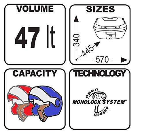 Topcase Set Aprilia Shiver 750 10-16 Givi Monolock B47 Blade schwarz