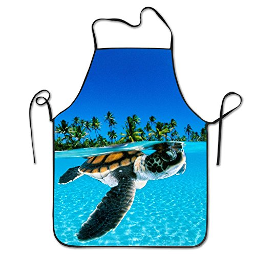 Sea Turtle Kitchen Aprons For Women And Men - Adjustable Neck Strap - Restaurant Home Kitchen Apron Bib For Cooking, Grill And Baking, Crafting, Gardening, BBQ