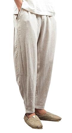 2e0d66a1d0 Yasong Men Summer Loose Fit Casual Drawstring Cropped Linen Trousers Haren  Carrot Pants (Beige M