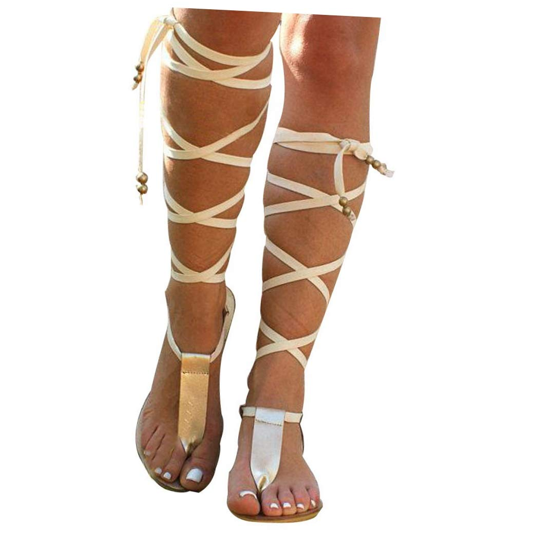 5506aeb1c Women Gladiator Sandals Flat, Summer Strappy Lace Up Open Toe Knee High Flat  Sandal at Amazon Women's Clothing store: