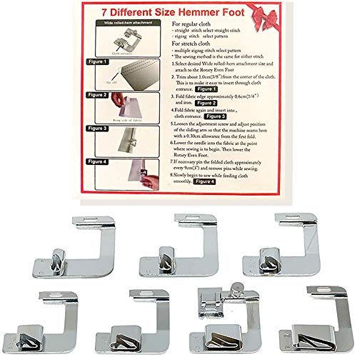Best Buy! Rolled Hem Presser Foot Set 7pcs - Fits All Singer, Brother, Babylock, Janome, Kenmore Low...