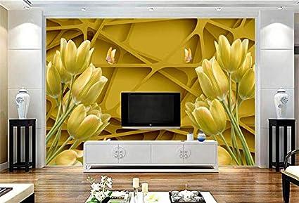 Pareti Doro : Wxlsl carta da parati 3d giglio doro fiori sfondi per pareti 3d