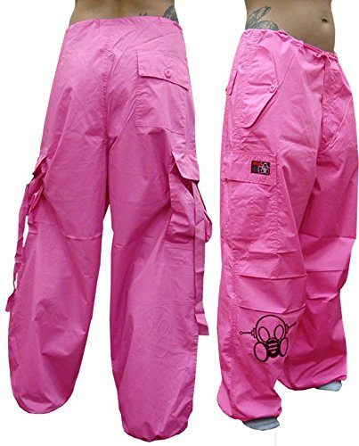 Pants Ufo (Ghast Unisex Cargo Drawstring Rave Dance Pants, Basic Fuchsia Medium)
