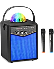 $139 » HIKEP Bluetooth Karaoke Machine with 2 Wireless Microphones, Portable PA Speaker System with Disco Lights for Kids and Adults Home Karaoke Party