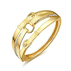 aodili Stainless Steel Gold Plated Bangle Bracelet Gold Finish Cuff Bracelet Fits 6.5 Inch