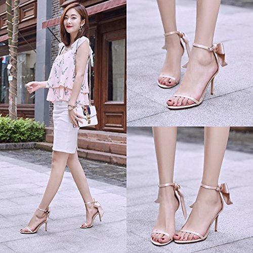 shoes with sexy student sandals Size 5cm bows Champagne casual Color fine high Women 8 shoes heels Champagne 36 xFAvAz0