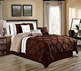 King Size Comforter Sets with Matching Curtains 7 Pieces KING size DARK Brown / Taupe / White Double-Needle Stitch Pinch Pleat All-Season Bedding-Goose Down Alternative Embroidered Comforter Set