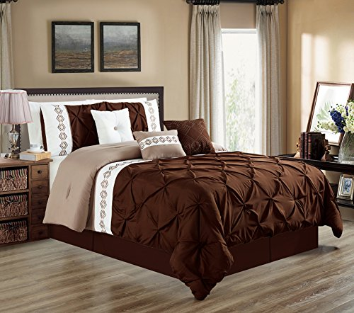 7 Pieces QUEEN size DARK Brown / Taupe / White Double-Needle Stitch Pinch Pleat All-Season Bedding-Goose Down Alternative Embroidered Comforter Set