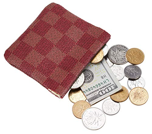 Rita Messi Luxury Checkered Vegan Leather Squeeze Coin Purse Pouch Change Holder For Men & Women (Scarlet)