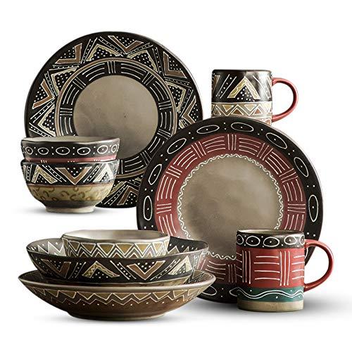 Ceramic Dinnerware Set 16-Piece Service for 4, Primitive Tribal Totem Pattern (Dinner Plate,Bowl, Cup), Primitive And…