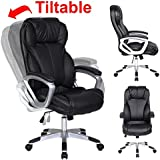 2xhome - Modern High Back Tall Ribbed PU Leather Swivel Tilt Adjustable Chair Designer Boss Executive Management Manager Office Conference Room Work Task Computer (Big & Tall - Black)