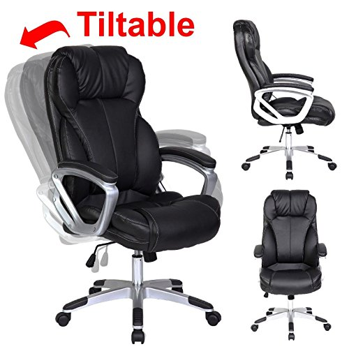 High Back Swivel Tilt Chair - 2xhome - Modern High Back Tall Ribbed PU Leather Swivel Tilt Adjustable Chair Designer Boss Executive Management Manager Office Conference Room Work Task Computer (Black)
