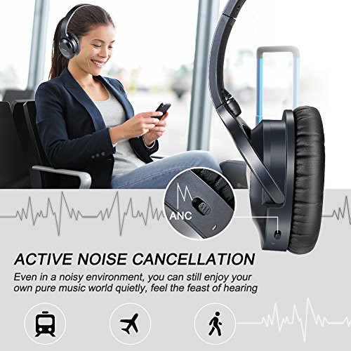 Jeestam Active Noise Cancelling Wired/Wireless Bluetooth Headphones with Microphone, Comfortable Protein Earpads Rotatable, Over Ear Headset Hi-Fi Stereo Deep Bass for Travel Work PC TV Phone (black) by Jeestam (Image #1)