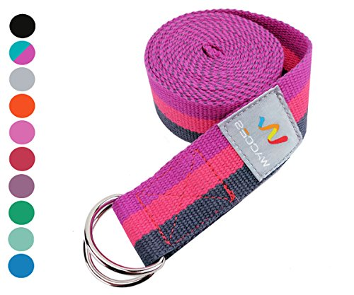 Wacces D-Ring Buckle Cotton Yoga Straps Bands - Best for Stretching (Rose-Pink-Black, 10 ft)