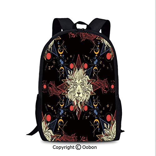 Medieval Lion Symbol (Men and Women Student Backpack, Medieval Mystic Lion Astrological Symbols of Zodiac Antique Style, School Bag :Suitable for Men and Women, School, Travel, Daily use, etc.Red Blue Gold and)