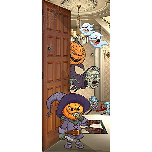 een Front Door Banner Mural Sign Decor - Pumpkin Heads - The Original Holiday Garage and Front Door Banner Decor ()