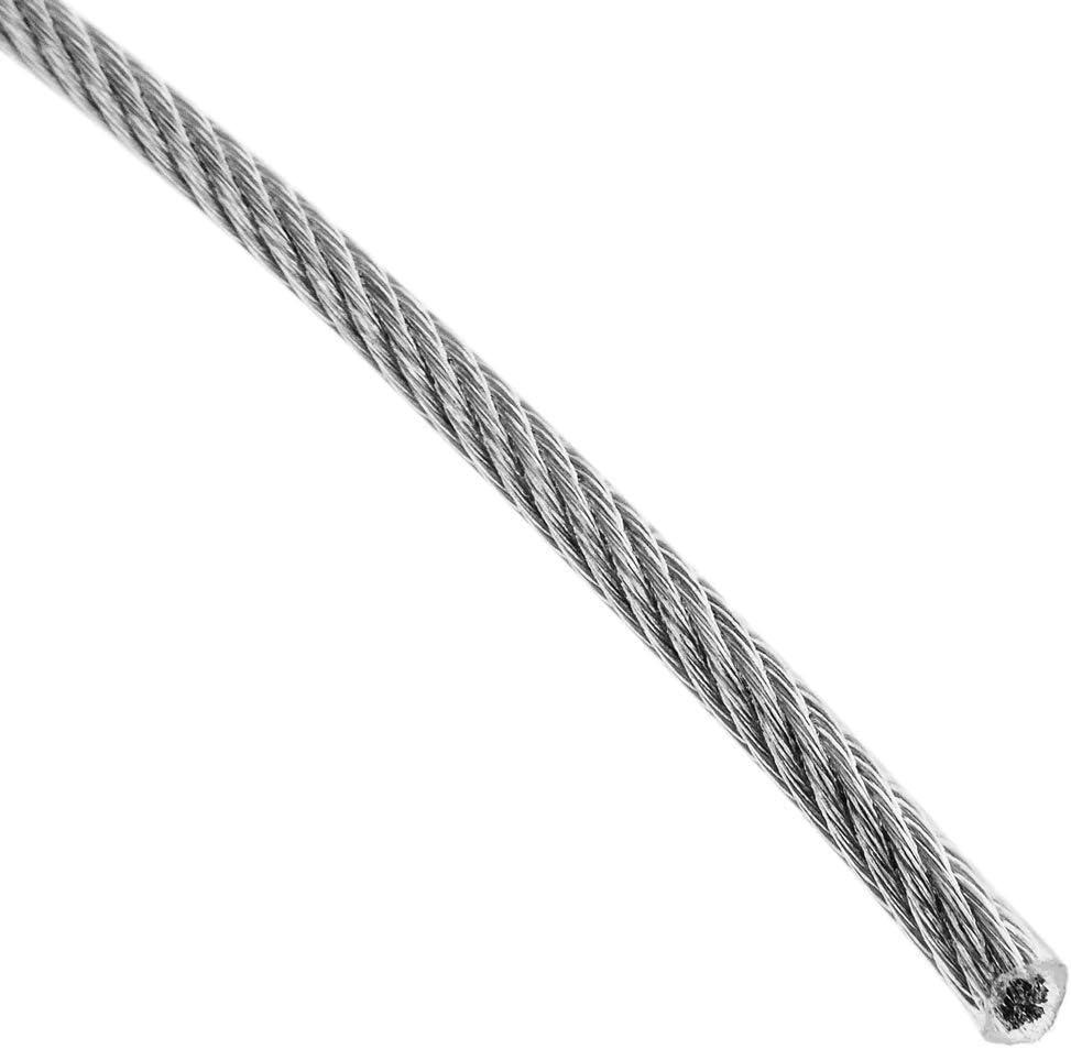 BeMatik Cable de Acero Inoxidable de 1,5 mm Recubierto de pl/ástico Transparente Bobina de 50 m