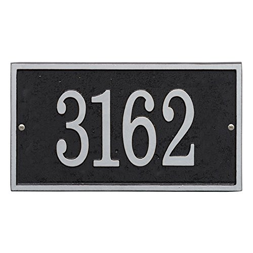 Plaque Personalized House (Whitehall Personalized Cast Metal Address Plaque - Custom House Number Sign - Rectangle (11