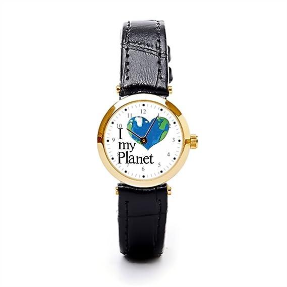 aromar marrón correa de piel reloj planeta tierra reloj bandas cuero: Amazon.es: Relojes