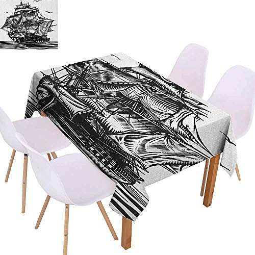 Marilec Rectangular Tablecloth Pirate Ship Nautical Line Art Style Illustration with Vintage Sailboat on Exotic Waters Washable Tablecloth W52 xL72 Black White