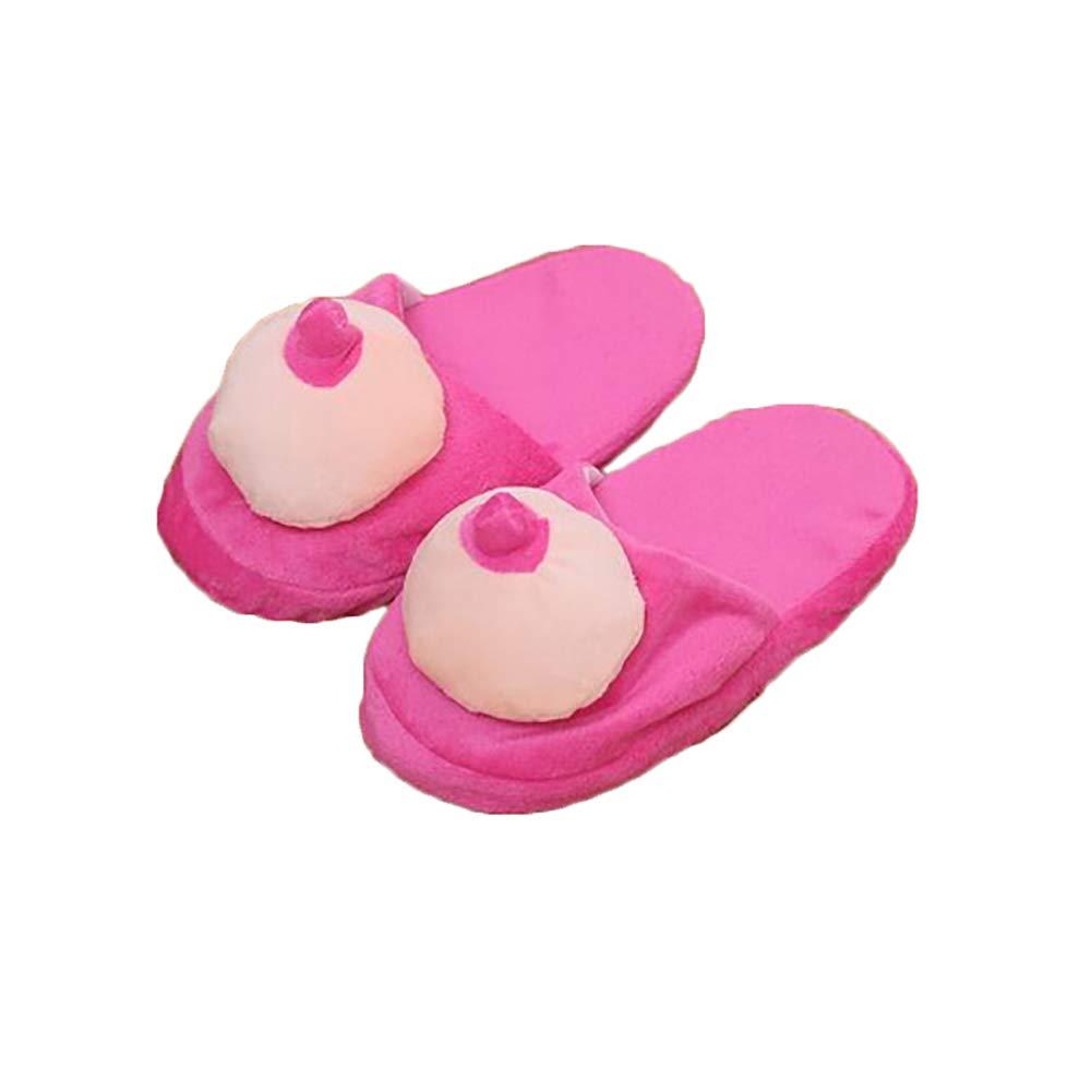 Catkoo Pizzo Creativo Seno Modello Donne Uomini Morbide Pantofole Interne Antiscivolo Morbide Perfetti Regali di Intelligenza per Bambini di Allenamento PeneNone Taglia Unica