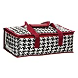 Houndstooth Printed Insulated Casserole Carrier with Crimson Trim