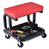 Globe House Products GHP Red Metal Frame PU Seat 4-Wheeled Rolling Garage Creeper Seat with Storage Tray