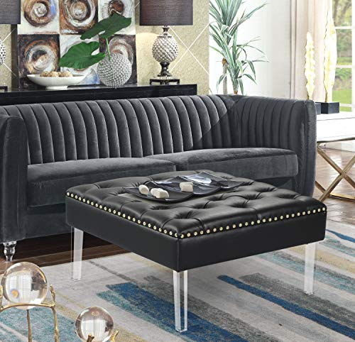 Iconic Home FON9180-AN Pierre Square Ottoman Center Table Button Tufted PU Leather Upholstered Acrylic Legs Modern Transitional - Oval Faux Onyx