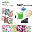 Babygoal Baby Adjustable Reuseable Pocket Cloth Diaper 12pcs Diapers+ 12pcs Charcoal Bamboo Inserts 12fg43-3