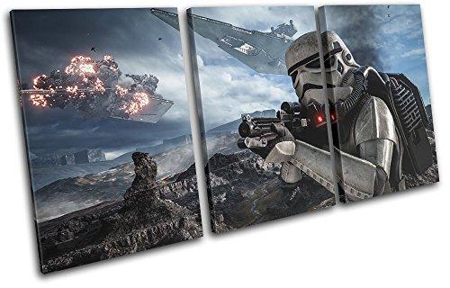 Bold Bloc Design - Star Wars Battlefront Gaming 150x75cm TREBLE Leinwand Kunstdruck Box gerahmte Bild Wand hangen - handgefertigt In Grossbritannien - gerahmt und bereit zum Aufhangen - Canvas Art Print