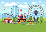 Fanghui Playground Circus Carnival Photoground Backdrop Ferris Wheel Backdrop Roller Coaster Photo Helium Balloon Studio Props Party Decoration Vinyl Backdrops 7x5FT