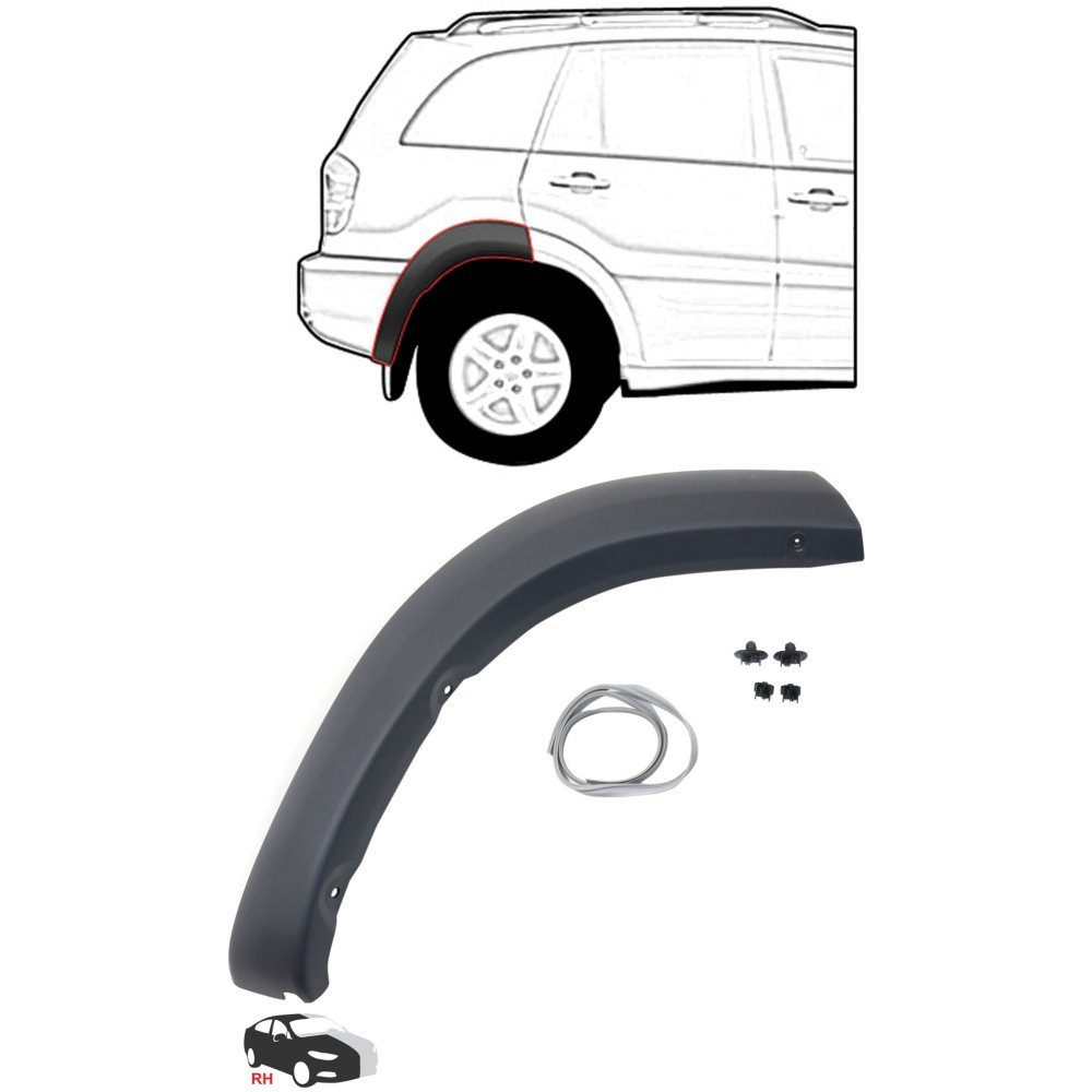 Rear Wheel Opening Molding Compatible with Toyota RAV-4 01-05 RH Rear Section Black Paint To Match Right Side