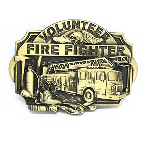KeCol Adult Mens Fire Engine Volunteer Fire Fighter Belt Buckle Bronze