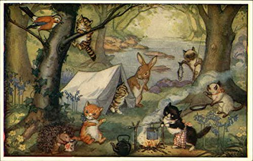 Kittens' Camp by Molly Brett Dressed Animals Original Vintage Postcard from CardCow Vintage Postcards