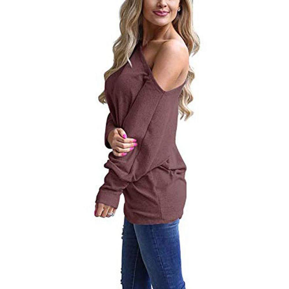YANG-YI Women Blouse, Women Off Shoulder Loose Pullover Sweater Batwing Sleeve Knit Jumper Blouse