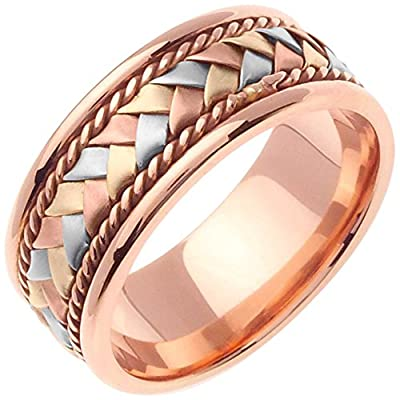 14K Tri Color Gold Braided Basket Weave Women's Comfort Fit Wedding Band (8.5mm)