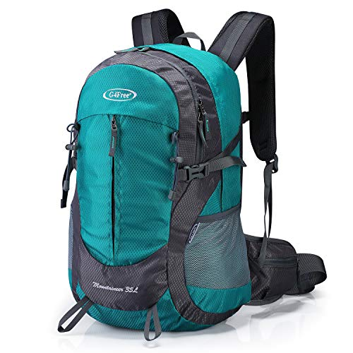 G4Free 35L Hiking Backpack Waterproof Travel Daypack for Outdoor Camping Trekking with Water Bladder Exit & Rain Cover (Peacock Green)
