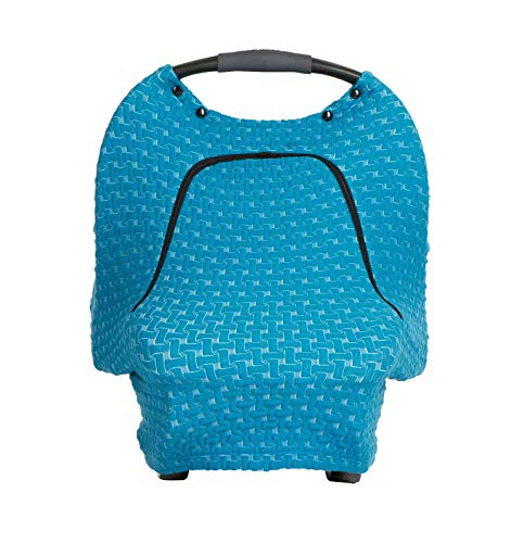 Stretchy Car Seat Cover Baby Teething Mitt Bundle Newborn Unisex Blue Universal Design Snug Soft Warm Breathable Windproof Protector for Boys Girls Infant Car Canopy Zipper Peep Window Carseat Cover