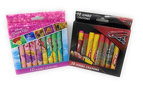 Back to School Toddler Pre-school Elementary School Supplies Disney Princess Belle Beauty Pixar Cars 20 Crayon Set