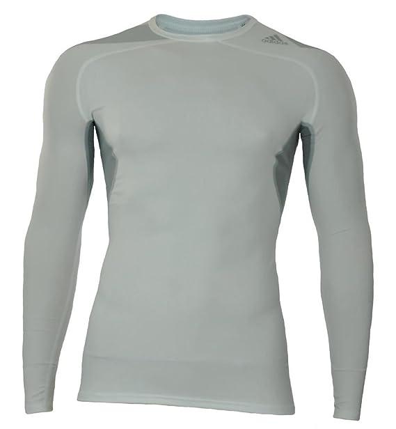 adidas Cool LS P Techfit Climacool Larga Camisa Hombres Compresión Estiramiento Blanco: Amazon.es: Ropa y accesorios