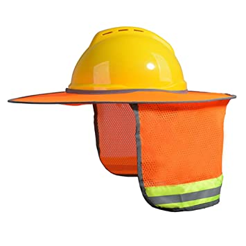 Hard Hat Not Included MEANIT Hard Hat Sun Shield,Full Brim Mesh Neck Sun Shade Protector High Visibility,Reflective