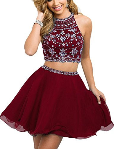 Fanciest Women's Beaded Two Pieces Prom Dresses Short Cocktail Homecoming Dress Burgundy US2 - 2 Piece Beaded Dress