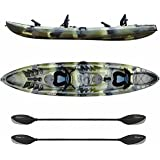 Elkton Outdoors Tandem Kayak: 12 Foot Sit On Top Fishing Kayak With Included Paddles, Rod Holders and Dry Storage Compartments