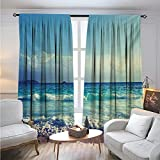 Tropical IslandBlackout DrapesOcean Waves on Seychelles Beach at The Sunset Time SkylineCover The