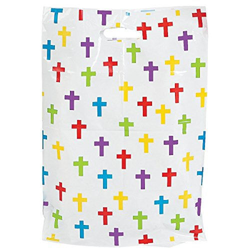 50 Christian Cross Large Plastic Party Bags by Fun Express