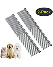 HEYUS [2 Pack] Pet Grooming Comb, Stainless Steel Pet Grooming Massaging Kit Dog Comb Steel Comb Pin Comb Dog Shedding Combs with Different Spaced Teeth Silver