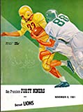San Francisco 49ers vs Detroit Lions Football Program (November 5, 1961) ** Kezar Stadium San Francisco**